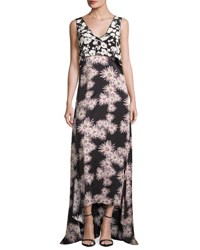 Elizabeth And James Sleeveless Floral High Low Popover Gown Black Multicolor Black Pattern