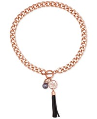 Guess Rose Gold Tone Crystal Gray Imitation Pearl And Imitation Suede Tassel Pendant Necklace