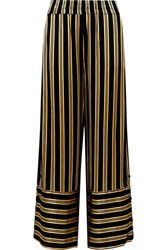 By Malene Birger Brinni Striped Satin Wide Leg Pants Black