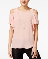 Amy Byer Bcx Juniors' Ruffle Sleeve Cold Shoulder Top With Necklace Rose