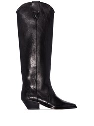 Isabel Marant Knee High Cowboy Boots Black