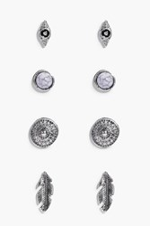 Boohoo Libby Evil Eye And Feather Stud 4 Earring Set Silver