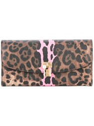 Dolce And Gabbana Leopard Print Wallet Brown