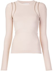 Narciso Rodriguez Shoulders Detailing Longsleeved T Shirt Nude Neutrals