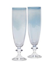 Luisa Beccaria Set Of Two Rosy Flute Glasses Blue