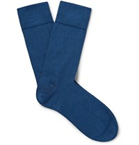 John Smedley Sedley Sea Island Cotton Blend Socks Stor Blue Storm Blue