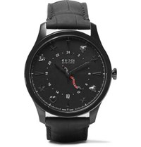 Gucci G Timeless 40Mm Pvd And Alligator Watch Black