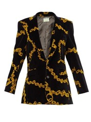 Aries Single Breasted Chain Print Velvet Blazer Black Multi