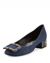 Roger Vivier Sneaky Viv Strass Denim Pump Dark Blue Multi Dk Blue W Multi