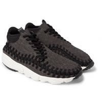 Nike Air Footscape Tweed Leather And Woven Mesh Sneakers Black