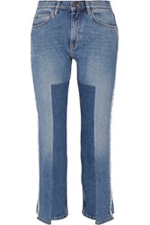 Mih Jeans M.I.H Jeanne Cropped Frayed Straight Leg Mid Denim