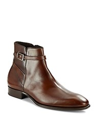 Mezlan Buckle Leather Boots Cognac