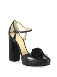 Giorgio Armani Flower Detail Leather Ankle Strap Pumps Black
