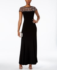 R And M Richards Beaded Trim A Line Gown Black