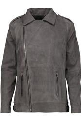 Rta Christophe Zip Embellished Suede Biker Jacket Gray