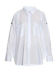 Helmut Lang Button Sleeved Cotton Shirt Light Blue