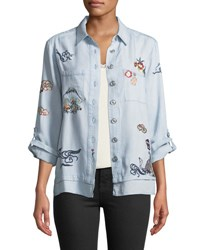 Philosophy Embroidered Button Front Blouse Blue