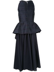 Rosie Assoulin Long Peplum Dress Blue