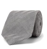 Tom Ford 8Cm Herringbone Woven Silk And Cotton Blend Tie Gray