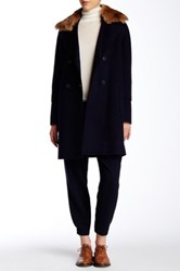 Vince Wool Blend Removable Genuine Coyote Fur Collar Peacoat Blue