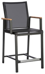 Barlow Tyrie Aura Counter Height Dining Chair Graphite 01 Frame Charcoal 500 Sling Black