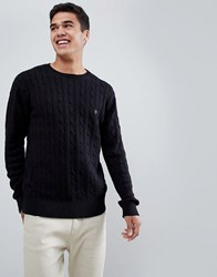 French Connection 100 Cotton Logo Cable Knit Jumper Black