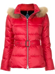 Guild Prime Fur Hood Trim Puffer Jacket Red