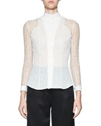 Olivier Theyskens Tentel Lace Button Front Blouse White
