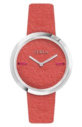 Furla Piper Leather Dial Leather Strap Watch 34Mm Coral Coral Silver