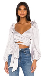 For Love And Lemons Argent Wrap Blouse In Metallic Silver.