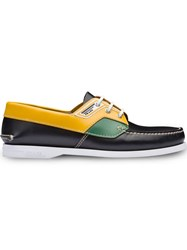 Prada Brushed Leather Boat Shoes Black