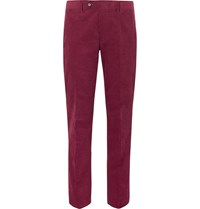 Freemans Sporting Club Slim Fit Cotton Corduroy Suit Trousers Burgundy