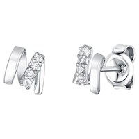 Jools By Jenny Brown Rhodium Plated Silver Cubic Zirconia M Shape Earrings