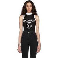 Balmain Black Knit Logo Bodysuit