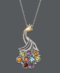 Macy's 14K Gold And Sterling Silver Necklace Diamond And Multistone Peacock Pendant