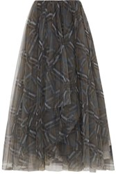 Brunello Cucinelli Plaid Tulle Midi Skirt Gray