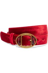 Prada Embellished Velvet Waist Belt Red