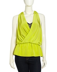 Madison Marcus Layered Surplice Silk Tank Lime Black