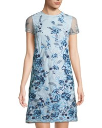 Donna Ricco Floral Embroidered Mesh Shift Dress Multi Pattern