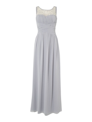 Little Mistress Beaded Top Maxi Dress Grey