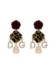 Dolce And Gabbana Red Rose Leopard Print Charm Earrings Gold