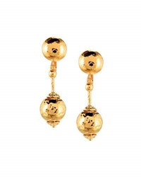 Jose And Maria Barrera Hammered Ball Drop Earrings Gold