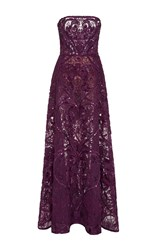 Elie Saab Strapless Dress With Full Skirt Purple