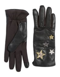 Lord And Taylor Applique Star Touchscreen Gloves Black