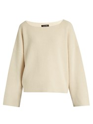 Isabel Marant Fly Scoop Neck Cotton And Wool Blend Sweater Ivory