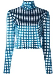 House Of Holland Velvet Effect Spotted Cropped Blouse Blue