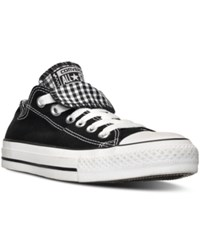Converse Women's Chuck Taylor All Star Double Tongue Plaid Casual Sneakers From Finish Line Black White Plaid