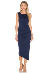 Michael Stars Ruched Tee Midi Dress Blue
