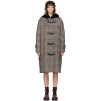 Mcq By Alexander Mcqueen Black And White Houndstooth Duffle Coat