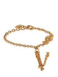Versace Bracelet W V Charms And Crystals Gold